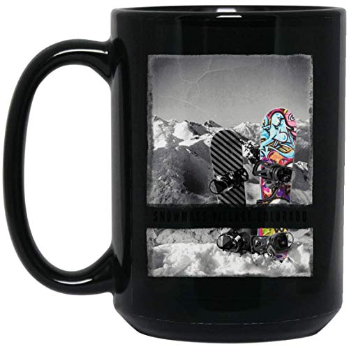 Snowmass Village Colorado Ski Snowboard Winter Cool 15 oz. Black Mug 17102018