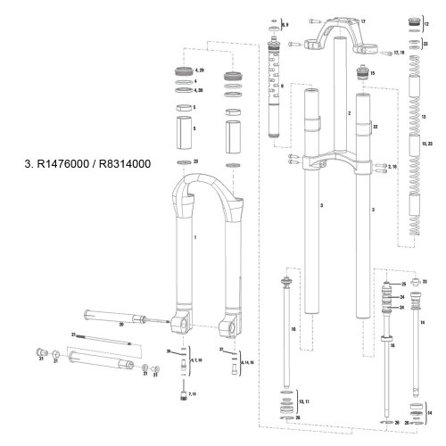 RockShox Bicycle Suspension XC32 SA Service Kit - 11.4018.014.000