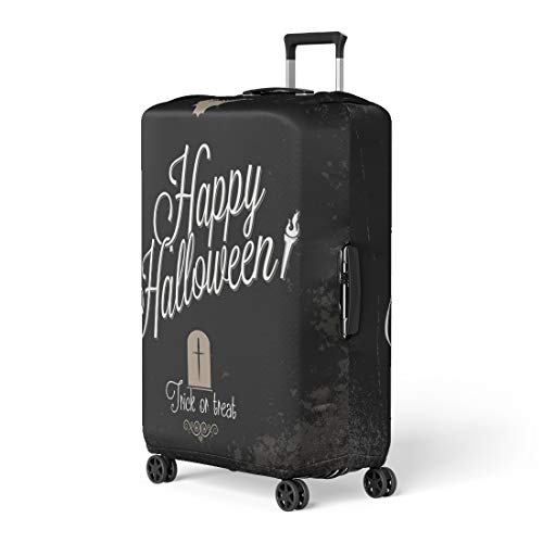 Pinbeam Luggage Cover Orange Text Holiday Happy Halloween Bat Event Vintage Travel Suitcase Cover Protector Baggage Case Fits 18-22 -