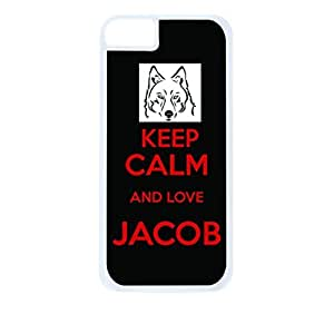 Keep calm and Love Jacob - Black/Red - Hard White Plastic Snap - On Case with Soft Black Rubber Lining-Apple Iphone 5 - 5s - Great Quality!