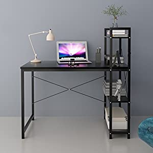 CherryTree Furniture 4-Tier Shelves Computer Desk Home Office Study Desktop Laptop Table Computer Workstation (Black)