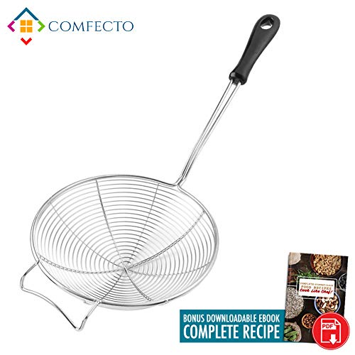 - COMFECTO Asian Spider Kitchen Strainer with Spiral Mesh Food Strainer and Heat Resistant Ladle Handle, 6.1 inch Stainless Steel Cooking Spoon Wire Net Wok Colander Skimmer for Boiling Frying