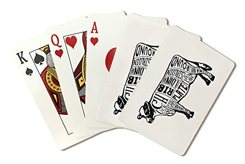 Beef - Butchers Block Meat Cuts - Black Cow on White (Playing Card Deck - 52 Card Poker Size with Jokers)