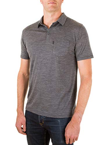 Woolly Clothing Men's Merino Wool Polo Shirt - Ultralight - Wicking Breathable Anti-Odor M CHR Charcoal