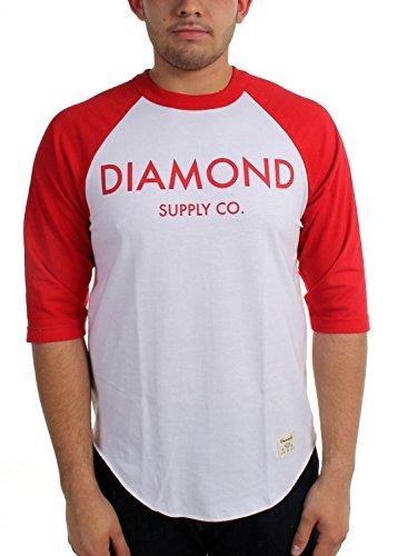 Diamond Supply Co. - Mens Diamond Classic Raglan, Large, White/Red