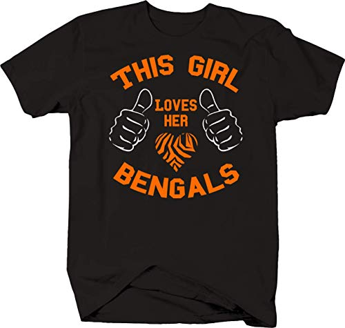 (This Girl Loves Her Bengals with Stripes and Thumbs Cat Lover Tshirt 4XL Black)
