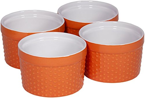 Round Porcelain Ramekin Dessert Dish, Set of 4 - Oven Safe Souffle Baking Dish, 8-oz (Orange) (Baking Porcelain Souffle Dish)