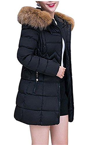 De Mujeres largas Abajo Cálido Con Invierno Moda Chaquetas Medio Down Chaqueta Plumas Abrigos Negro Capucha Coat Yogly H5xnwSFAqI