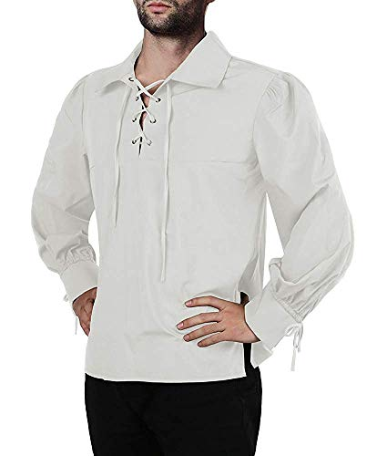 Men Ruffled Gothic Steampunk Victorian Pirate Cosplay Long Sleeve Lace Stand Collar Costume Shirt