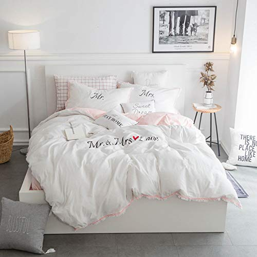 wanxinfu 4 Piece Duvet Comforter Cover Set King Size, Mr. and Mrs. Love Home Decorative Zippered Quilt Cover Teen Room Decor Bedding Set Include Duvet Cover Flat Sheet Pillow Case