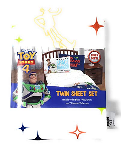 (Toy Story 4 Bedding Twin Sheet Set - 3 Pieces - 100% Polyester - for Boys or Girls)