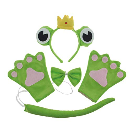 Unisex Kids Parents Show Props Animal Cosplay Clothes Frog Headgear,Bow,Gloves and Tail Four Suit(Adult,Prince) ()