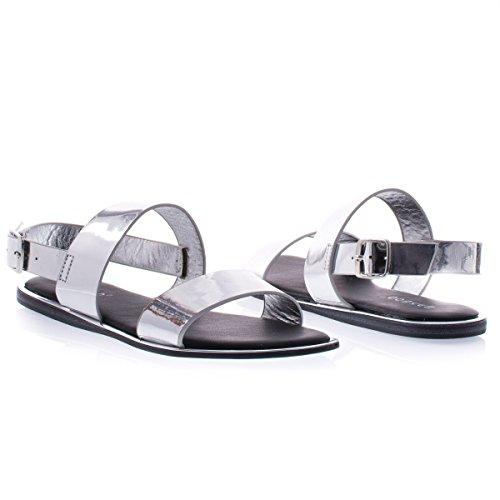 Open Toe Due Cinturini Sandalo Piatto Con Specchio Metallico Tessuto Argento