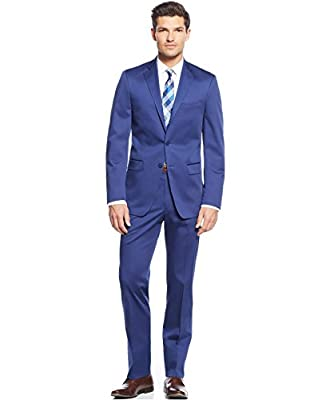 Calvin Klein Extra Slim Royal Blue Solid Cotton Two Button Flat Front New Men's Suit