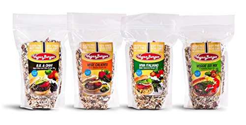 Vegan Burger Pack of 4 (36 Servings Total): Vege Caliente, Veggie Six Mix, B.B. & Ohh!, Viva Italiano (Soy Burger Patties)