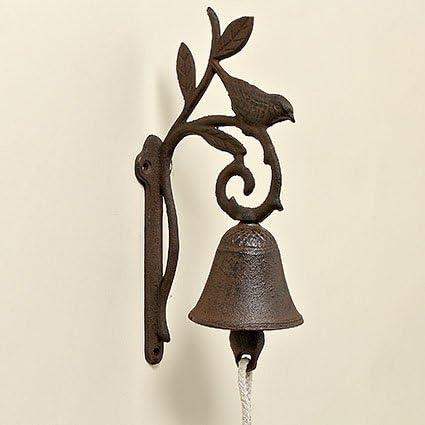 Campana de puerta de hierro fundido con Pájaro altura 24cm - Campana Jardín - campana de puerta hierro: Amazon.es: Jardín