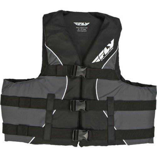 Fly Life Vest - Fly Racing Nylon Adult Water Sports Racing Watercraft Vest - Black/Grey / Small/Medium