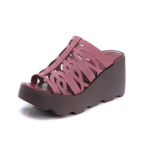 EU36 Zapatillas Inferior D ZHIRONG Sandalias CN36 Tamaño Verano de B Gruesa UK4 Cuñas Color Desgaste Moda Parte Exterior mujer Mujer Zapatos q50wTrZ5