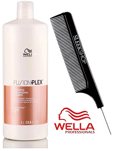 Wella FUSION PLEX Intense Repair Shampoo (with Sleek Steel Pin Tail Comb) (33.8 oz / 1000 ml - Liter)