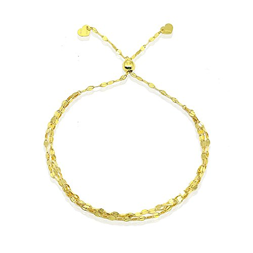 (14K Gold Chain Triple Mariner Italian Adjustable Bracelet, 9