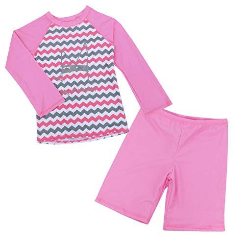 Happy Cherry Little Girls Rashguard Sets Seamless Long Sleeve Swim Shirt with Elastic Waistband Jammer Swimwear 6-7T - Jammer Check
