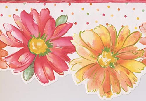 Red Yellow Orange Flowers Polka Dot Kids Wallpaper Border Paint by Design, Roll 15' x 10