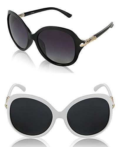 Womans Teen Bulk Cool Sunglasses UV400 Gift Wife Chic 2 Two Pack Black White