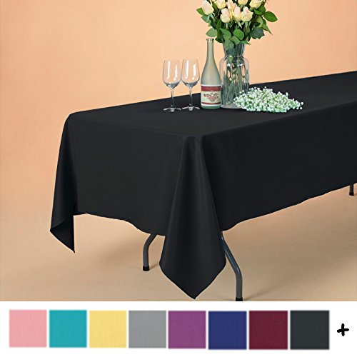 Remedios 60 x 102-inch Rectangle Polyester Tablecloth Table Cover - Wedding Restaurant Party Banquet Decoration, Black