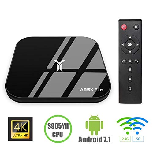 Maikoler Android 7.1 TV Box, A95X Plus Android TV Box 4GB DDR3 32GB ROM WiFi 2.4G Bluetooth Quad Core 3D 4K Ultra HD H…