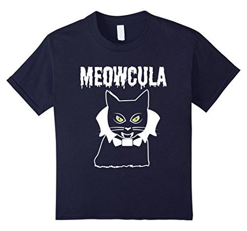 Cat Fangs (Kids Vampire Cat Meowcula Cat Dracula Fangs Halloween T-Shirt 6 Navy)