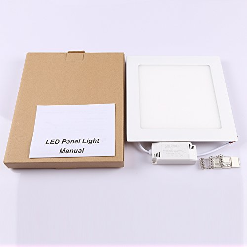 B-right 15W 7-inch Dimmable Square LED Panel Light Ultra-thin 1200lm 5000K Cool White LED Recessed Ceiling Lights for Home Office Commercial Lighting by B-right (Image #5)