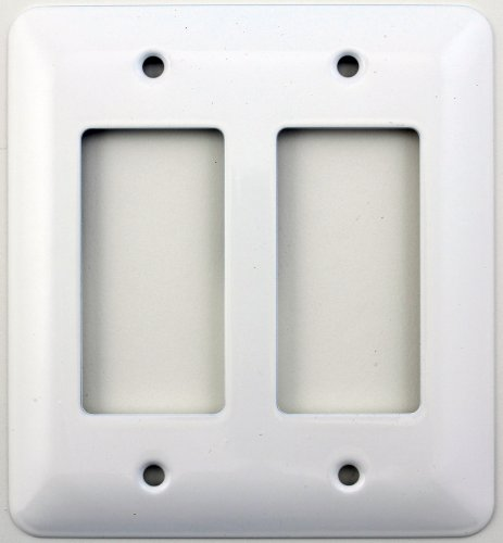 Mulberry Princess Style White Two Gang GFI/Rocker Opening Switch Plate