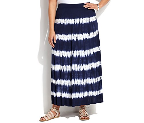 INC International Concepts Women's Tie-Dye Rhinestone Maxi Skirt (Blue, 3X)