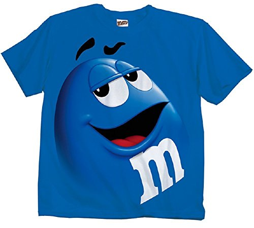 M&M M&M's Candy Blue Silly Character Face Adult T-Shirt (Adult Medium)
