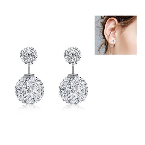 (Studs Earrings Sterling Silver for Women Girls Double Sides Faux Pearl Stud Earrings/Cute Mini Pet Cat Stud Earrings, Fine Jewelry Gifts for Women Girls (Gray))