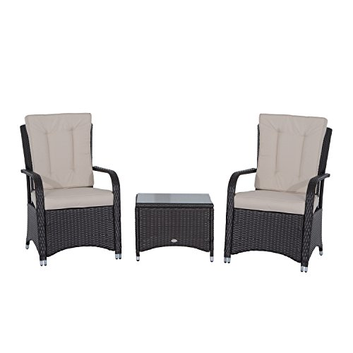 Outsunny Rattan Garden Furniture 3 PCs Sofa Chair Table Bistro Set Wicker Weave Outdoor Patio Conservatory Set w/ Cover Aluminium Frame