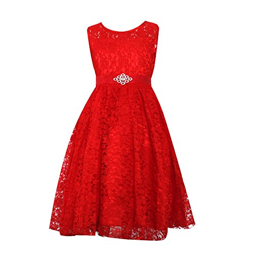 Kids Girls Pleated Lace Dress Red 6 (Red Dresses For Little Girls)