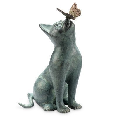 SPI Home Cat and Butterfly Curiosity Garden Statue Green 7.5