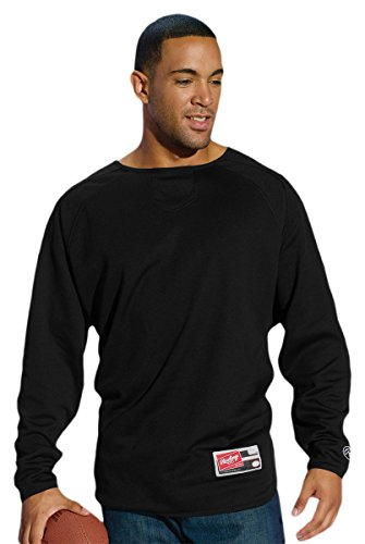 Rawlings Men's Flatback Mesh Long Sleeve Fleece Pullover (Black) (3X-Large) Rawlings Black Home Plate