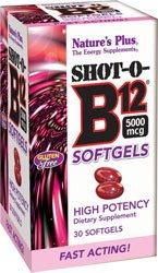 Natures Plus Shot-O-B12 (Cyanocobalamin) - 5000 mcg, 30 High Potency Softgels - Vitamin Supplement, Energy Booster, Memory Enhancer, Mood Support - Gluten Free - 30 Servings