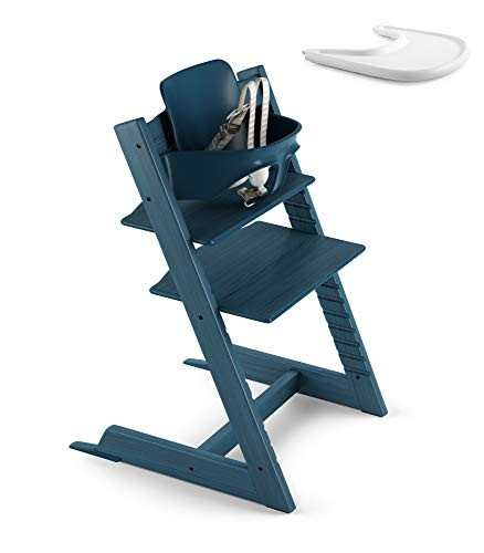 Stokke 2019 Tripp Trapp Midnight Blue High Chair & White Tray Bundle