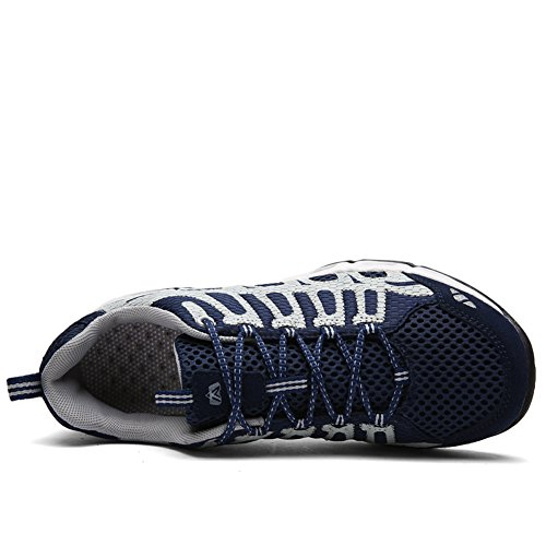 Gomnear Chaussures De Course Hommes Respirant Randonnée Marche Antidérapant Maille Mode Sport Baskets Bleu Foncé