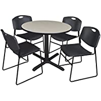 Cain 42 Round Breakroom Table- Maple & 4 Zeng Stack Chairs- Black