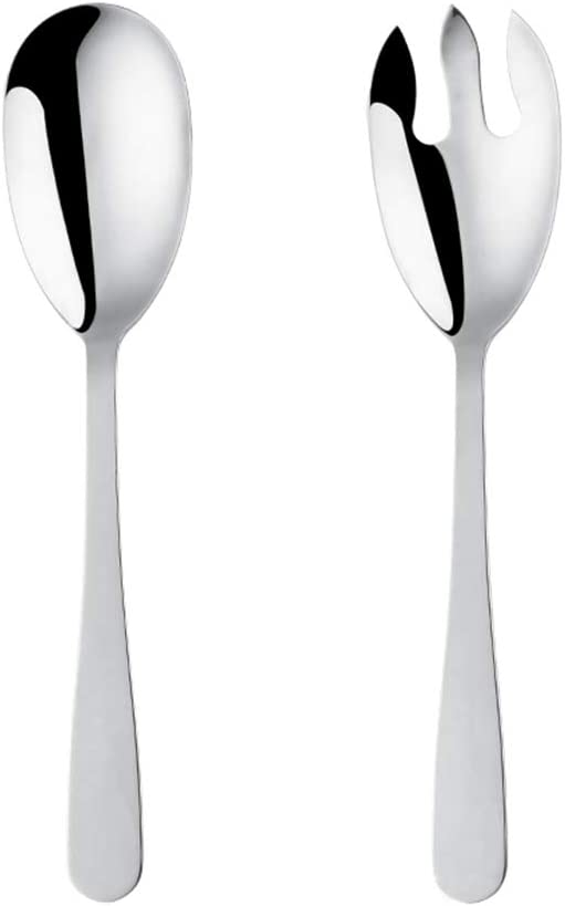 Mingcheng 12 Inches Stainless Steel Salad Server Sets with Salad Spoon and Fork, Cooking Utensils for Kitchen, Simple and Classic Dishwasher Safe(Silver)