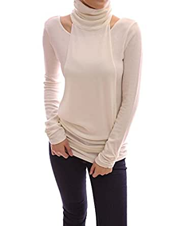 PattyBoutik Long Sleeves Ruched Turtleneck Tunic Top (Ivory XL)