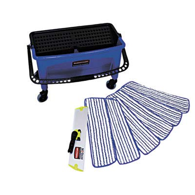 RCPQ050 Microfiber Floor Finishing System, 27 gal, Blue/Black/White ()