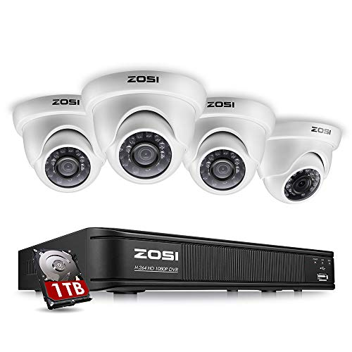 (ZOSI 8 Channel HD-TVI 1080p CCTV Camera Security System,1080p 4-in-1 Surveillance DVR Recorder with 1TB HDD and (4) 2.0MP 1920TVL Outdoor/Indoor Day Night Vision Security Cameras)
