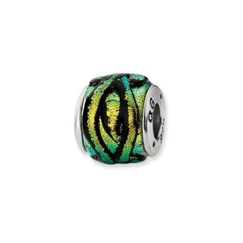 Dichroic Glass and Sterling Silver Yellow Striped Bead Charm, 14mm Striped Dichroic Glass