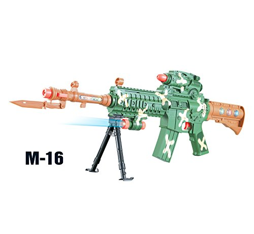 - Liberty Imports M-16 Camouflage Military Toy Machine Gun Rifle with Lights and Sounds for Kids (27-Inches)