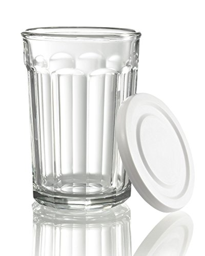 (Arc International Luminarc Working Glass Storage Jar/Cooler with White Lid, 21-Ounce, Set of 4 2 pack total set of)